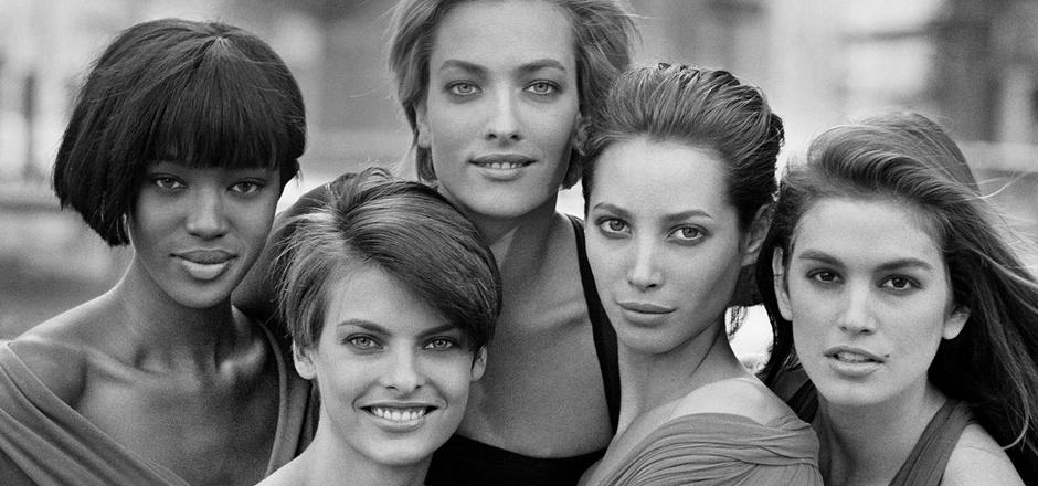 1989 versammelte Peter Lindbergh die Supermodels Naomi Campbell, Linda Evangelista, Tatjana Patitz, Christy Turlington und Cindy Crawford (von links) zu einem Gruppenfoto.