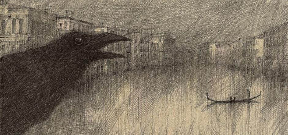 """""""Canal Grande und ein Rabe"""", 1985 vom erklärten Rabenfreund Paul Flora gezeichnet."""