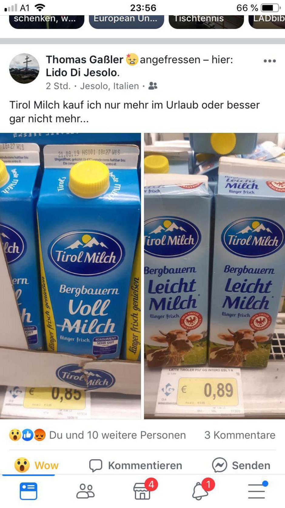 Tirol Milch ist in Jesolo offenbar günstiger.