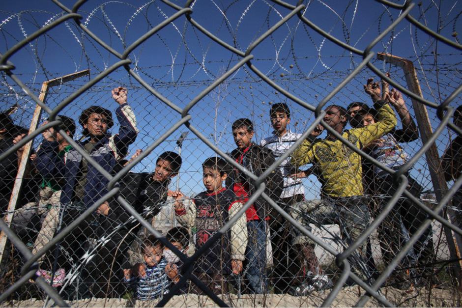 Illegale Immigranten in einem Auffanglager in Griechenland.