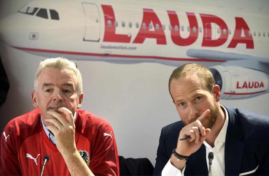 Ryanair-CEO Michael O'Leary und Laudamotion-Geschäftsführer Andreas Gruber: Die Gewerkschafte wehren sich gegen die Forderungen der Lauda-Bosse.