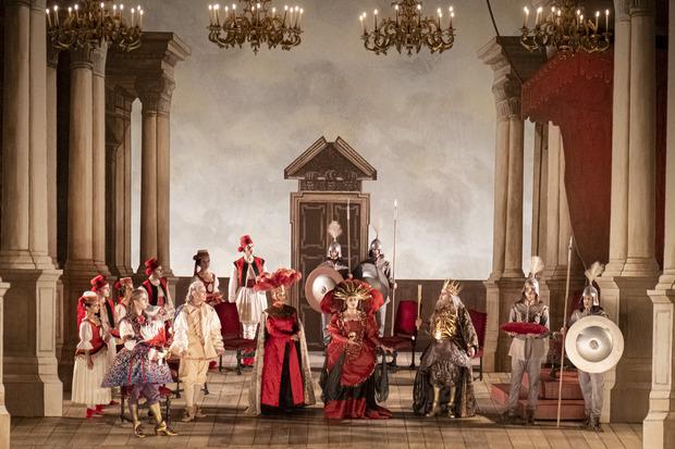 """Anna Bonitatibus als """"Merope"""" während einer Fotoprobe zur Oper """"Merope""""."""