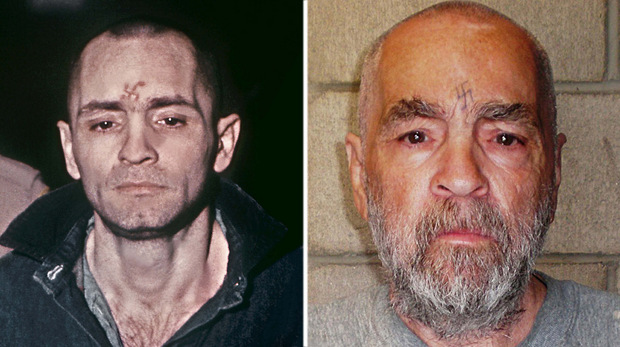 Charles Manson - links 1971, rechts 2009.
