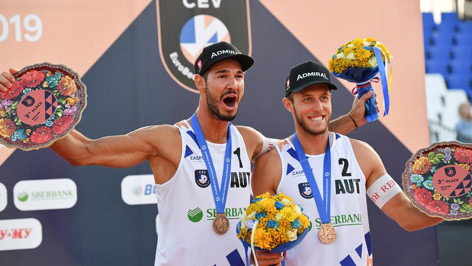 Strahlende Gesichter bei Martin Ermacora und Moritz Pristauz. EM-Bronze war der bisherige Höhepunkt ihrer Karriere.