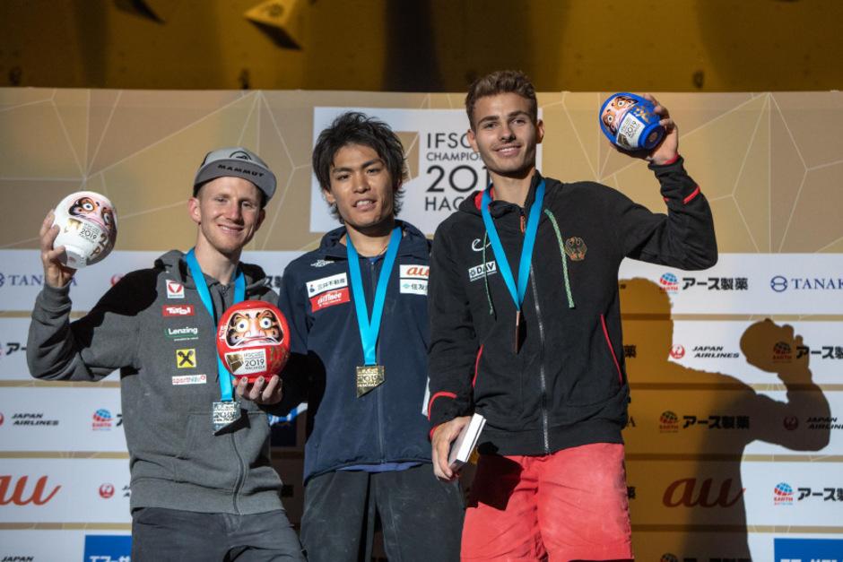 Das WM-Podest im Bouldern: Tomoa Narasaki (JPN/M.), Jakob Schubert (AUT/l.) und Yannick Flohe (GER).