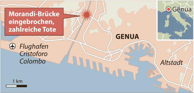 Die Brücke in Genua lag auf einer Hauptverkehrsroute, auch für den Urlauberverkehr.