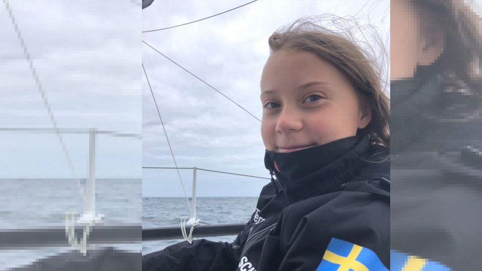 """""""Überraschend gut geschlafen"""", vermeldete Thunberg am Donnerstag nach der ersten Nacht an Bord."""