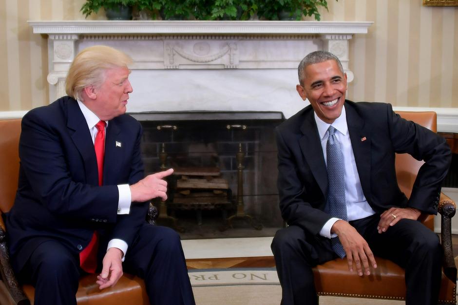 US-Präsident Donald Trump mit seinem Vorgänger Barack Obama.