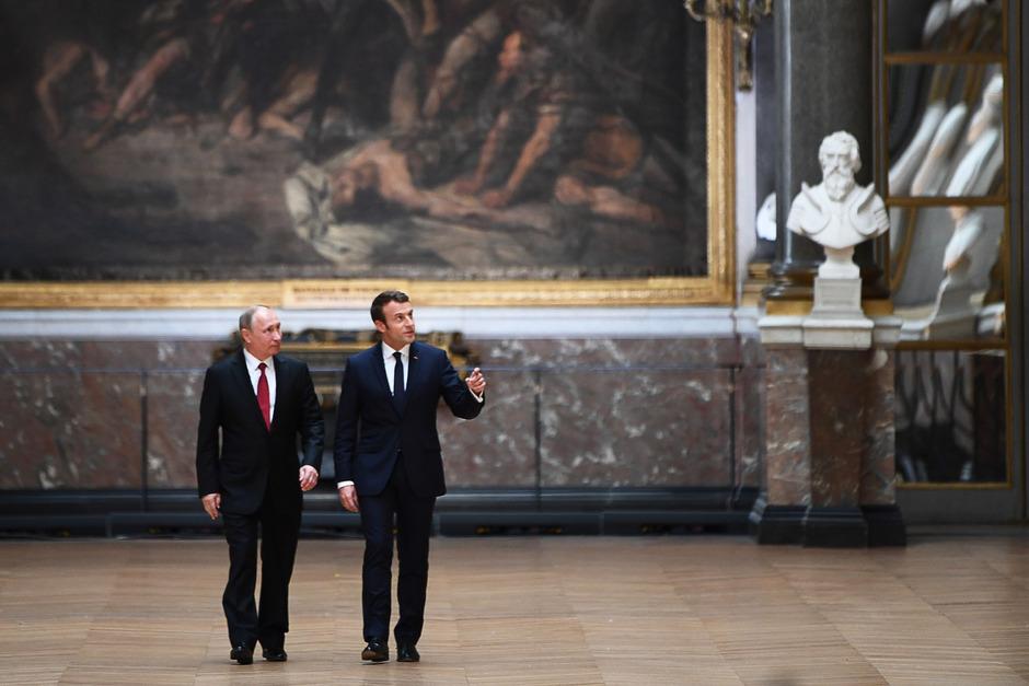 Russlands Präsident Vladimir Putin bei einem Treffen mit Frankreichs Präsident Emmanuel Macron in Versaille am 29. Mai 2017.