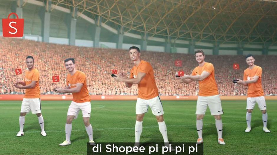 """Im Werbeclip für einen asiatischen Onlinehändler tanzt Fuballstar Cristiano Ronaldo den """"Shopee Dance""""."""