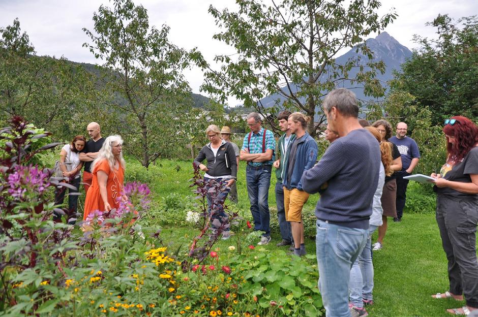 """Elisabeth Schnegg macht es vor: Aus dem Garten kommen Kräuter und Gemüse. Der Garten ist ein echter """"Lebensraum""""."""