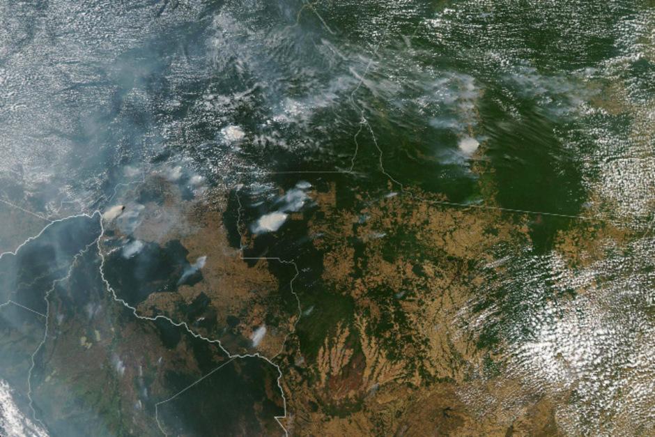 Satellitenaufnahmen der NASA dokumentieren die zahlreichen Brände im brasilianischen Amazonasgebiet.
