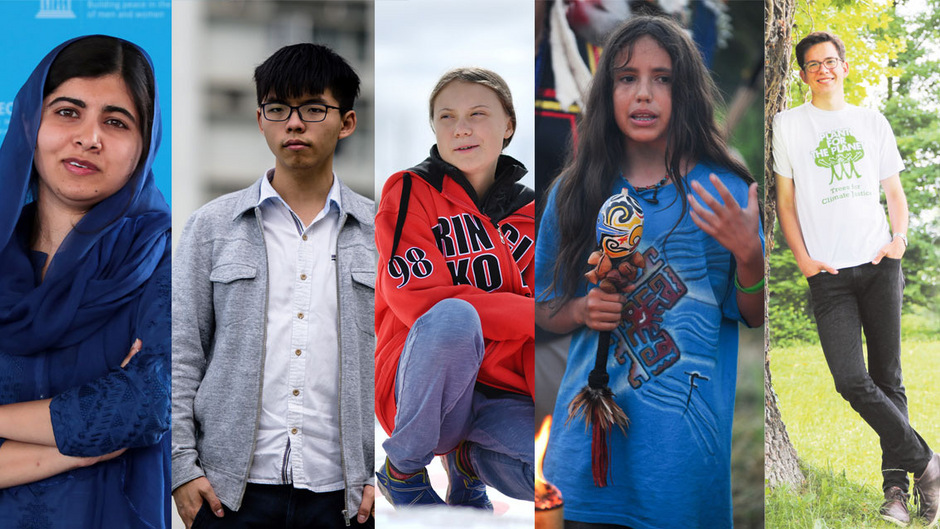 Malala Yousafzai, Joshua Wong, Greta Thunberg, Xiuhtezcatl Martinez und Felix Finkbeiner.