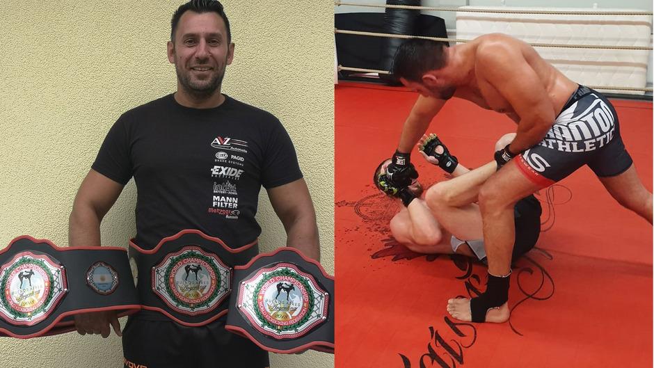 Jovanovic zeigt stolz seine drei WM-Gürtel (linkes Bild). In Ebbs (rechtes Bild) trainiert der Hochfilzener oft und intensiv.