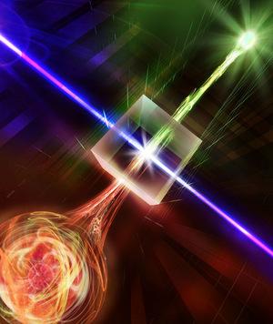 In einem nichtlinearen Kristall wird die Wellenlänge des Photons so verändert, dass es über herkömmliche Glasfaserleitungen gesendet werden kann.