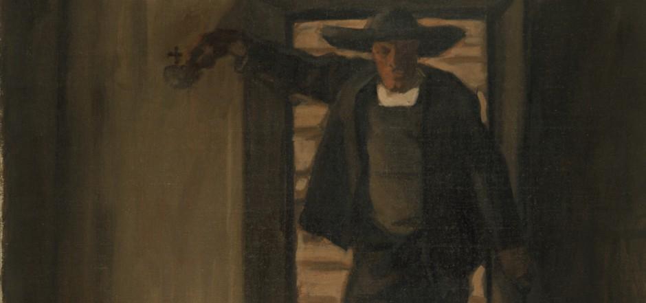 """1907 hat Albin Egger-Lienz in Längenfeld urlaubend seinen """"Weihbrunn sprengenden Bauer"""" gemalt."""