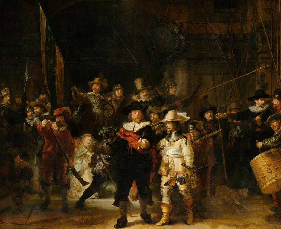 """Rembrandts wohl bekanntestes Werk """"Die Nachtwache"""" aus dem Jahr 1642."""