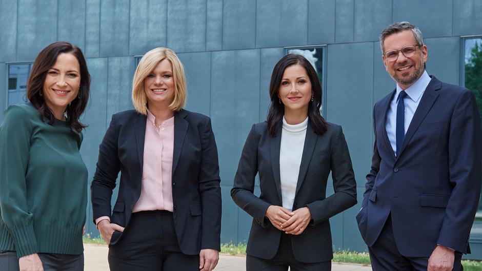 """PULS 24 Wahlkampf Live"" mit Manuela Raidl, Corinna Milborn, Alexandra Wachter, Thomas Mohr (v.l.)"