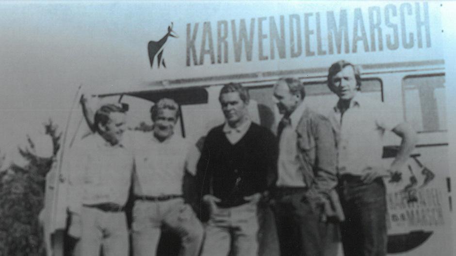 """Die """"Ur-Väter"""" des Karwendelmarsches: Siegfried Pilser, Arnold Koller, Wolfgang Girardi, Josef Köck und Robert Schöpf (v.l.).F"""