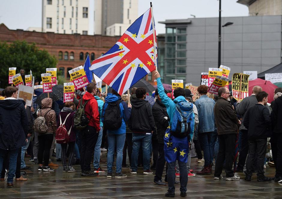 Demonstrationen gegen Boris Johnsons Brexit-Kurs in Manchester.