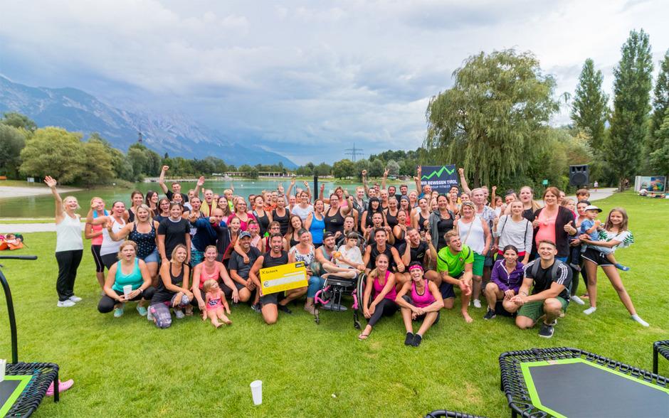"""Rund 130 Teilnehmer schwitzten beim """"Jumpen"""" am Baggersee für den guten Zweck."""