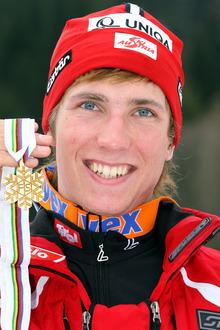 Die erste Goldmedaille: Hirscher bei der Junioren-WM 2007.