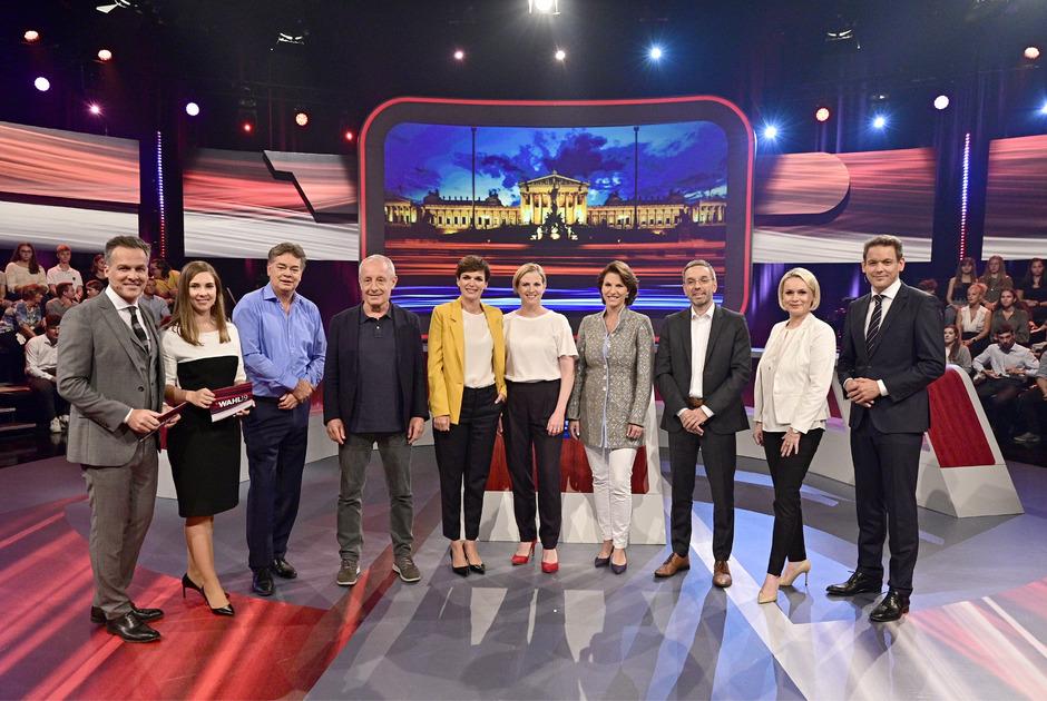 Tarek Leitner (ORF), Simone Stribl (ORF), Werner Kogler (Grüne), Peter Pilz (JETZT), Pamela Rendi-Wagner (SPÖ), Beate Meinl-Reisinger (NEOS), Karoline Edtstadler (ÖVP), Herbert Kickl (FPÖ), Lou Lorenz-Dittlbacher (ORF) und Martin Thür (ORF).