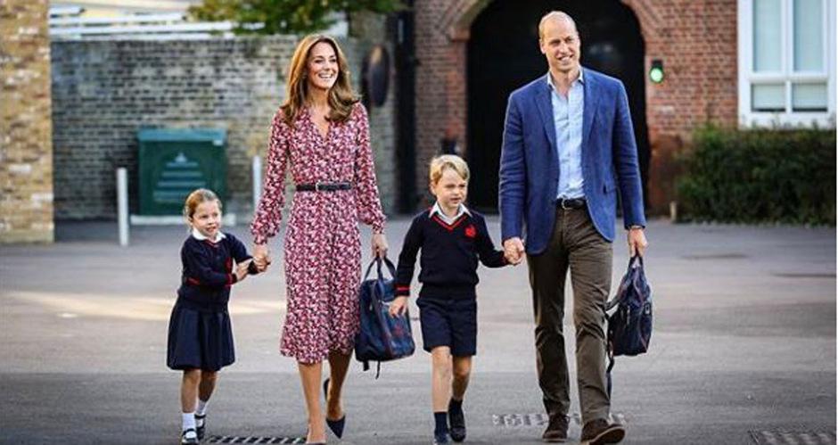 Prinzessin Charlotte wurde an ihrem ersten Tag von Herzogin Kate, Bruder George und Prinz William begleitet. (v.li.)