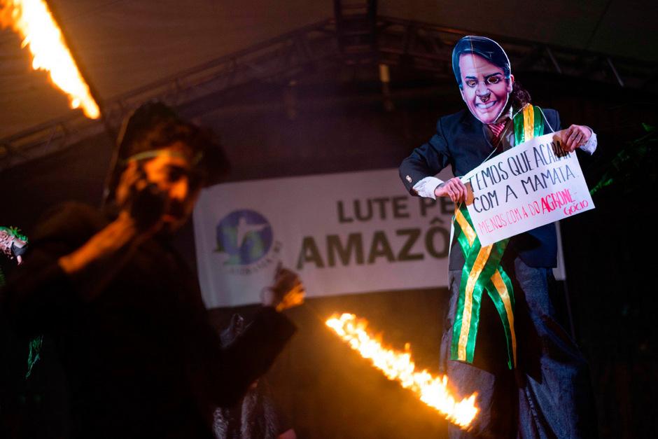 Demonstrationen gegen Präsident Bolsonaro in Rio de Janeiro.