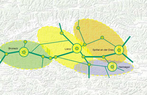 Die vier Städte mit ihrem Umland bilden eine Region.