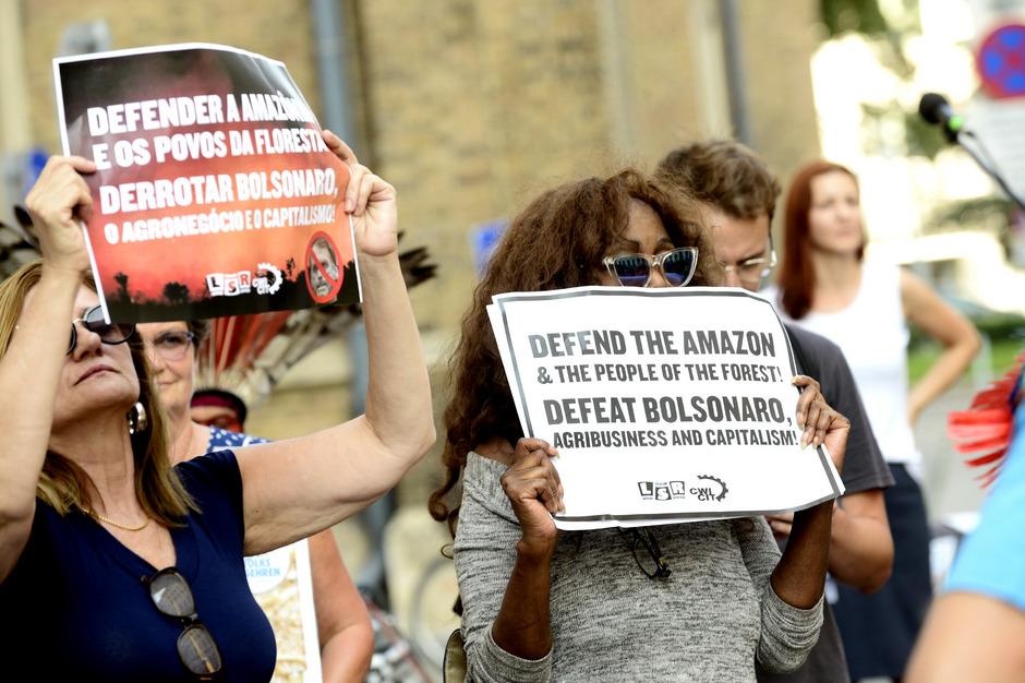 Das Mercosur-Abkommen stößt auf breite Ablehnung: Protestkundgebung vor der brasilianischer Botschaft.
