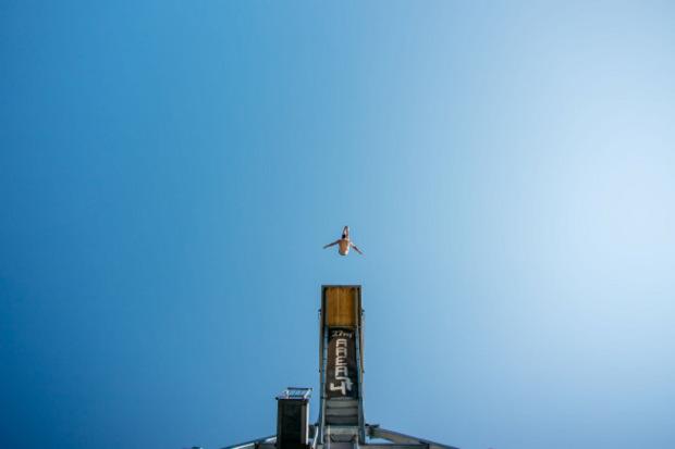 Die 27-Meter-Plattform in der Area 47 ist ein beliebter Trainings-Spot.