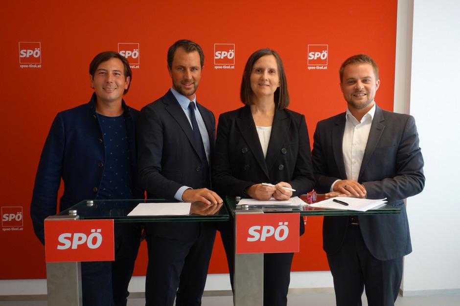 Gehen mit Zuversicht in die letzten Wahlkampfwochen: v. l. Marco Neher (Platz 3), Landesparteivorsitzender Georg Dornauer, Eva Beihammer (Platz 2) und der Spitzenkandidat im Wahlkreis Innsbruck-Land/Schwaz, Bernhard Höfler.