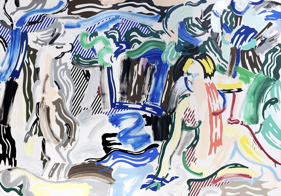 """Vom amerikanischen Popartisten Roy Lichtenstein 1987 zehn Jahre vor seinem Tod gemalt: """"Artemis and Acteon""""."""