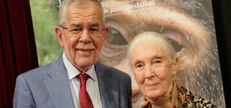Bundespräsident Alexander Van der Bellen und Schimpansenforscherin Jane Goodall.