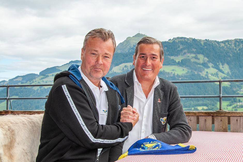 """Adler-Präsident Zeh (r.) und Trainer Franzén blickten bei der AHL-Pressekonferenz in der """"Einsiedelei"""" auf den Ligastart voraus."""