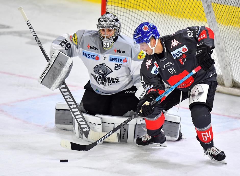 Die Innsbrucker Haie bissen sich auch an Dornbirn-Goalie Juha Rinne die Zähne aus – Angreifer Ondrej Sedivy scheiterte mit einem Penalty am starken Finnen.