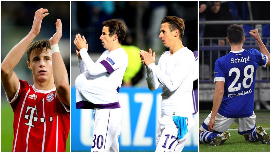 Vier Tiroler mit Champions-League-Erfahrung – Marco Friedl (links) für die Bayern, Fabian Koch und Flo Mader für die Wiener Austria (Mitte) sowie Alessandro Schöpf (rechts) als Torschütze für Schalke.