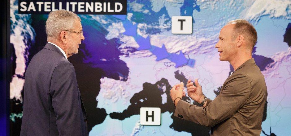Bundespräsident Alexander Van der Bellen schaute bei Marcus Wadsack und seiner Wetterredaktion vorbei.