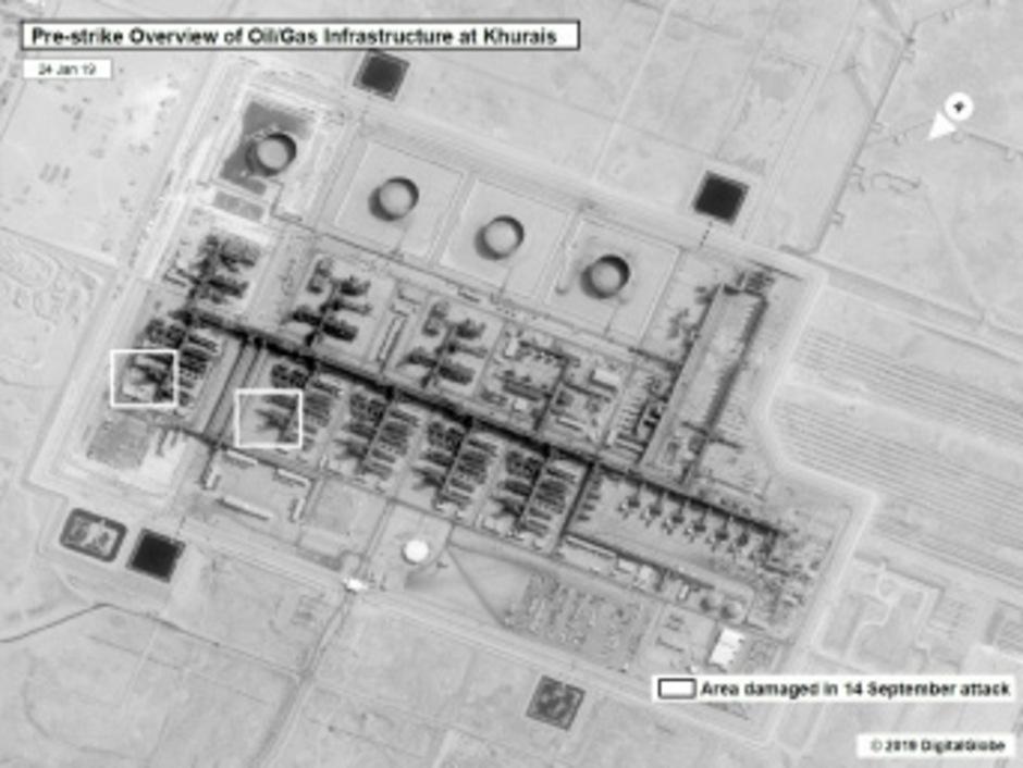 Von der US-Regierung veröffentlichte Satellitenbilder zeigen Schäden an den saudischen Ölanlagen. Die Angriffe waren groß genug, um die Monarchie zu schocken und die Ölpreise in die Höhe schießen zu lassen.