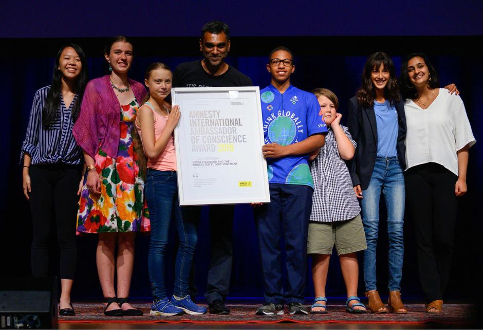 Thunberg nahm die Auszeichnung von Amnesty International entgegen.