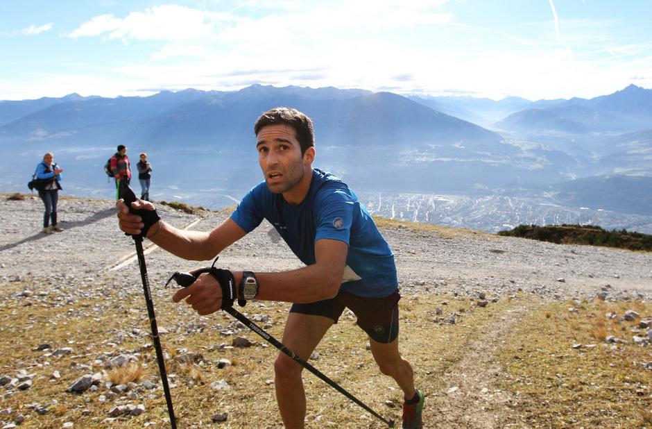 Das Nordkette Vertical stellt die Bergläufer (im Bild David Thöni, Sieger von 2016) bei bis zu 78 Prozent Steigung auf eine harte Probe.