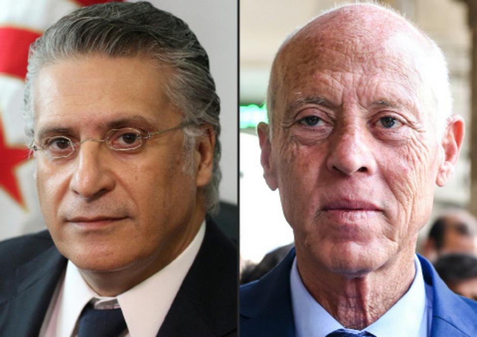 Kaïs Saïed (r.) gewann die erste Wahlrunde mit knapp drei Prozentpunkten vor Nabil Karoui.