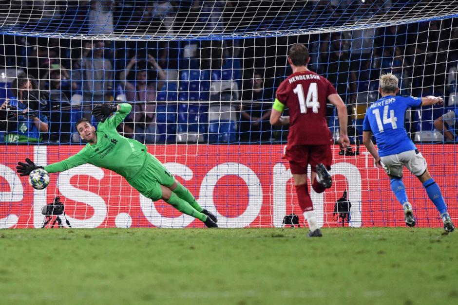 Per Elfmeter brachte Dries Mertens Napoli gegen Liverpool in der 82. Minute in Führung.