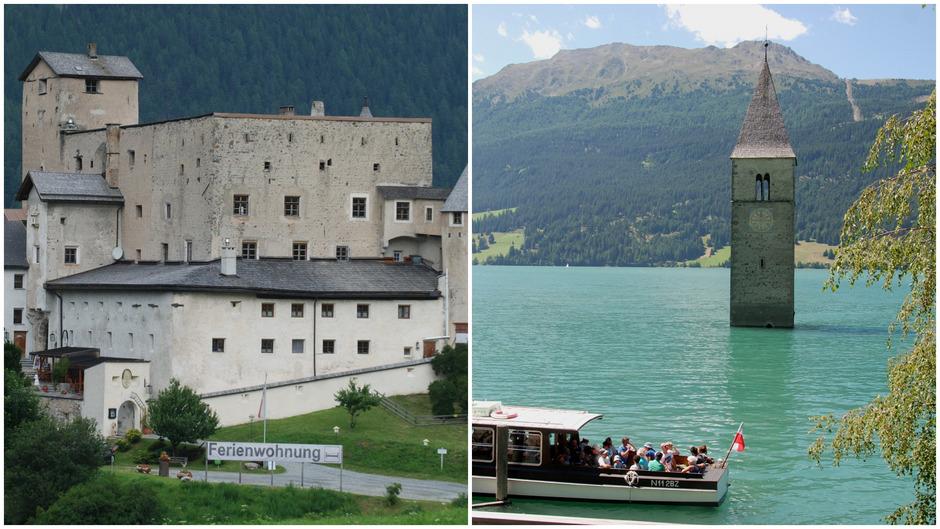 Schloss Naudersberg und der versunkene Turm im Reschensee sind bekannte Landmarken am Reschen. Nauders und Graun waren vom Mittelalter bis zur Teilung Tirols 1919 wirtschaftlich und kulturell eng verbunden.
