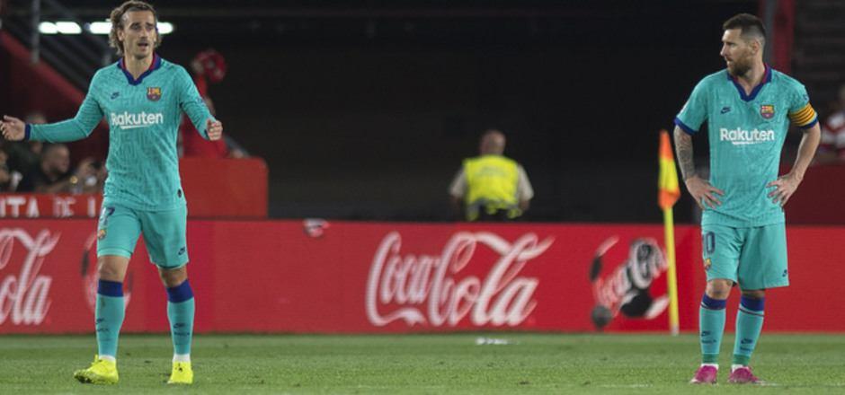 Ratlose Barca-Stars: Antoine Griezmann (l.) und Lionel Messi.
