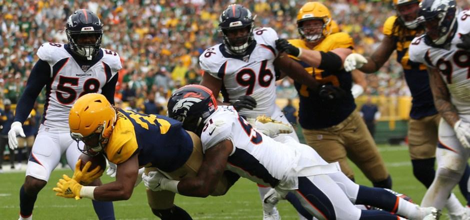 Running Back Aaron Jones und die Green Bay Packers waren auch von Denver nicht zu stoppen.