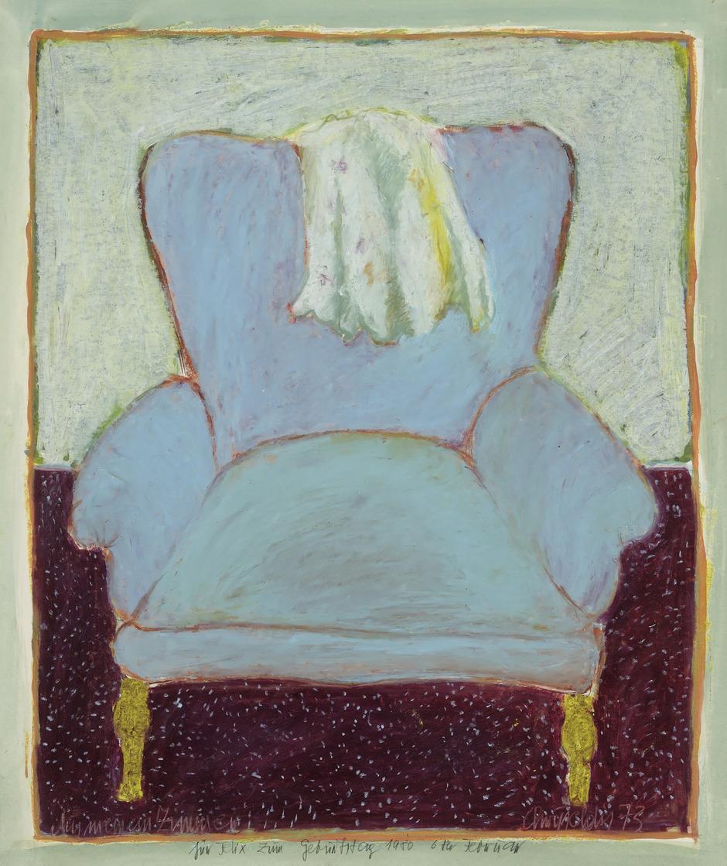 """Dieser 1980 gemalte """"Stuhl"""" konnte 2017 aus der brennenden Haller Wohnung von Chryseldis gerettet werden und hängt nun – wunderbar restauriert von Herbert Szusich – im Schwazer Rabalderhaus."""