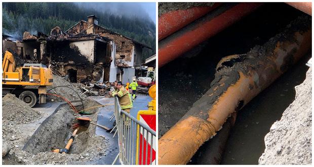 Die angebohrte Gasleitung – etwa vier Meter vom Haus entfernt – konnte noch in der Nacht auf Dienstag freigelegt werden.