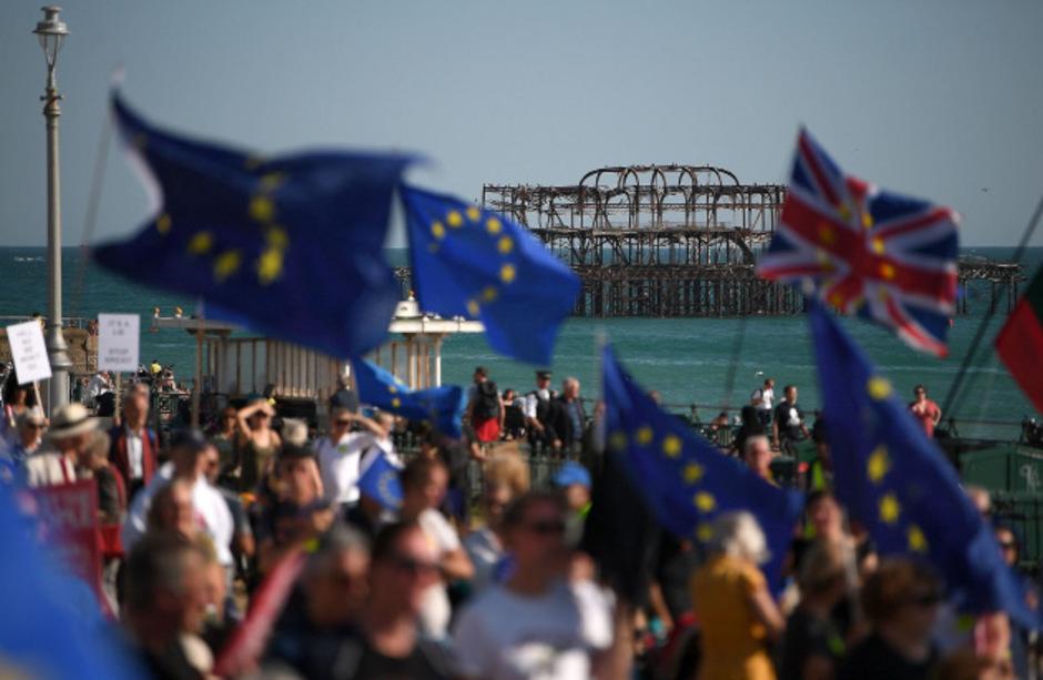 Protestmarsch für ein zweites Referendum über den Brexit in Brighton am Samstag.
